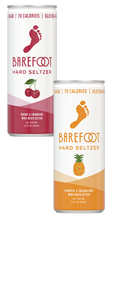 Barefoot Cherry & Cranberry, Pineapple & Passion Fruit, Strawberry & Guava and Peach & Nectarine Hard Seltzer