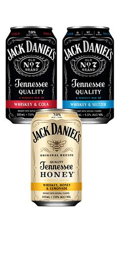 Jack Daniels Cans - Whiskey & Cola, Whiskey & Seltzer and Whiskey, Honey & Lemonade